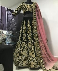 Embroidered Net Lehenga in Green