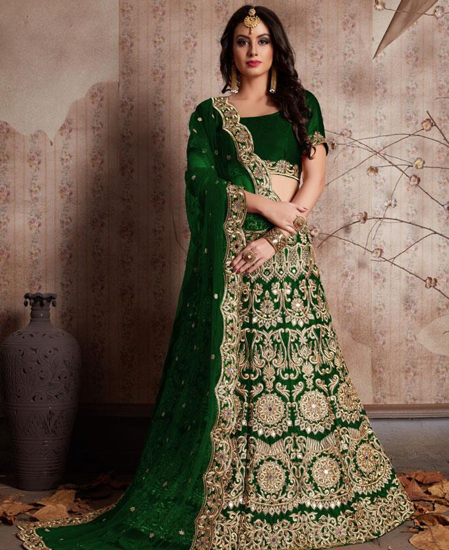 Embroidered Velvet Green Circular Lehenga Choli