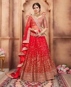 Embroidered Net Red Circular Lehenga Choli Ghagra