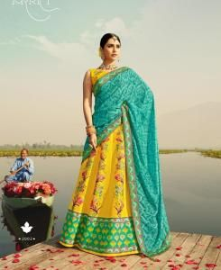 Stone Work Silk Lehenga in Lemon Yellow