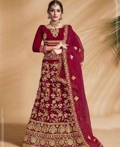Zari Velvet Red Circular Lehenga Choli