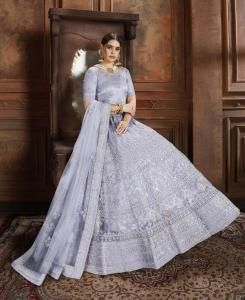 Embroidered Net SKY BLUE Circular Lehenga Choli