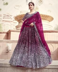 Sequins Net Lehenga in Wine