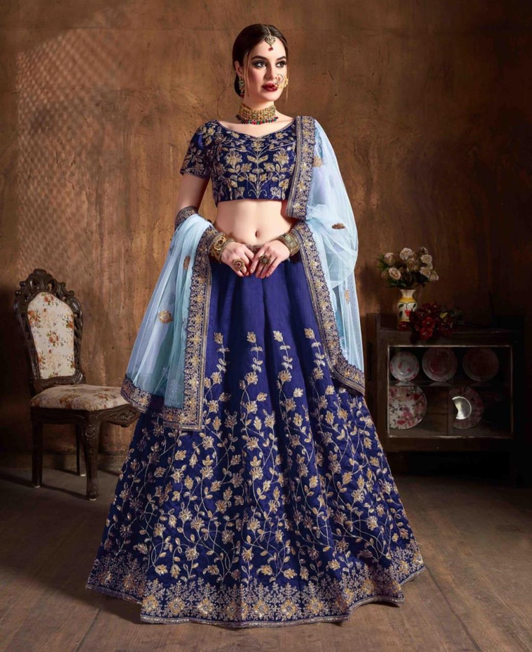 Thread Silk Lehenga in Blue