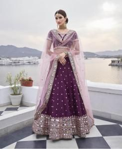 HandWorked Silk Lehenga in Wine