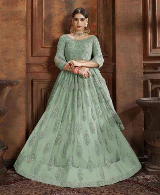 Thread Work Net MINTCREAM Circular Lehenga Choli