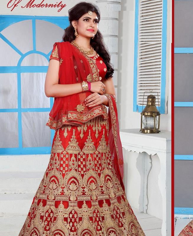 Embroidered Net Red A Line Lehenga Choli Ghagra