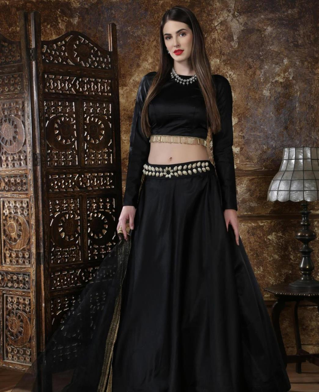 Lace Satin Black Circular Lehenga Choli