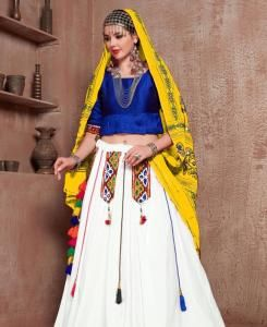 Embroidered Cotton Lehenga in Blue