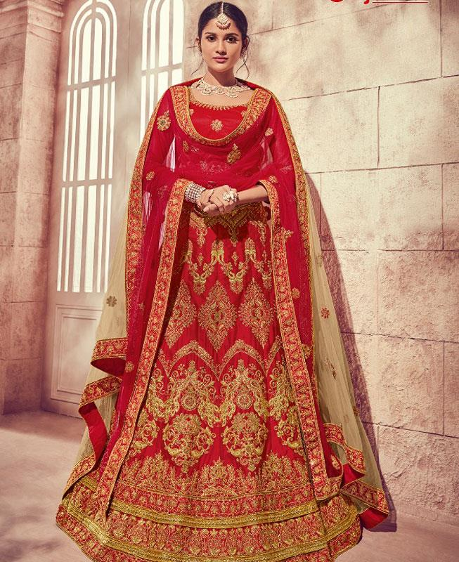 Embroidered Silk Red Circular Lehenga Choli Ghagra