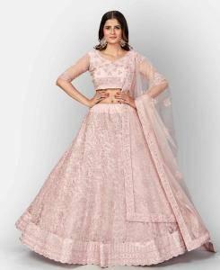Zari Cotton Lehenga in Baby Pink
