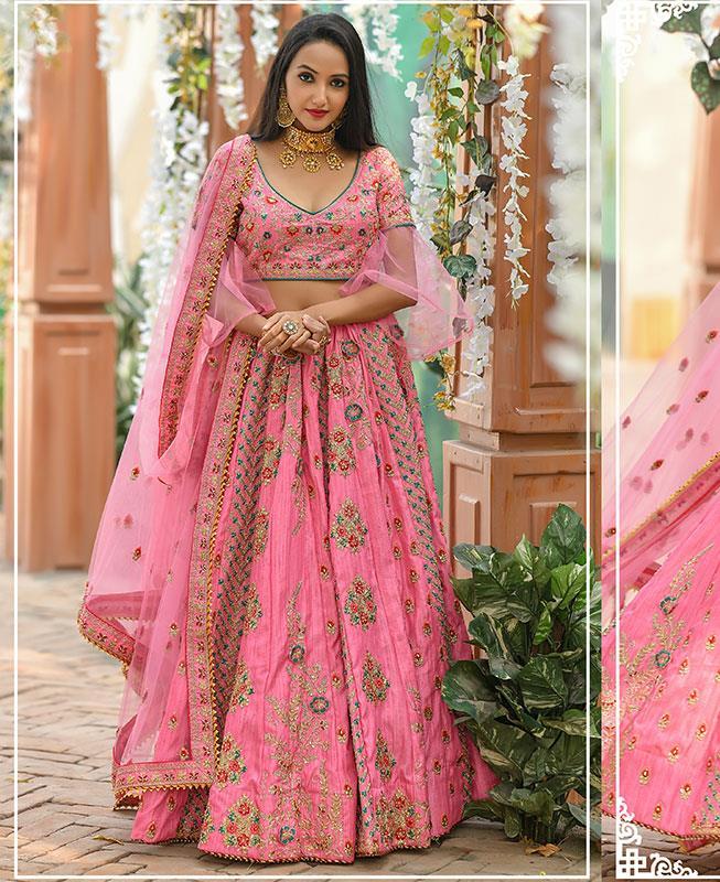 Silk Lehenga in Pink