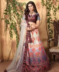 Printed Satin Lehenga in Pink  ,  Cream