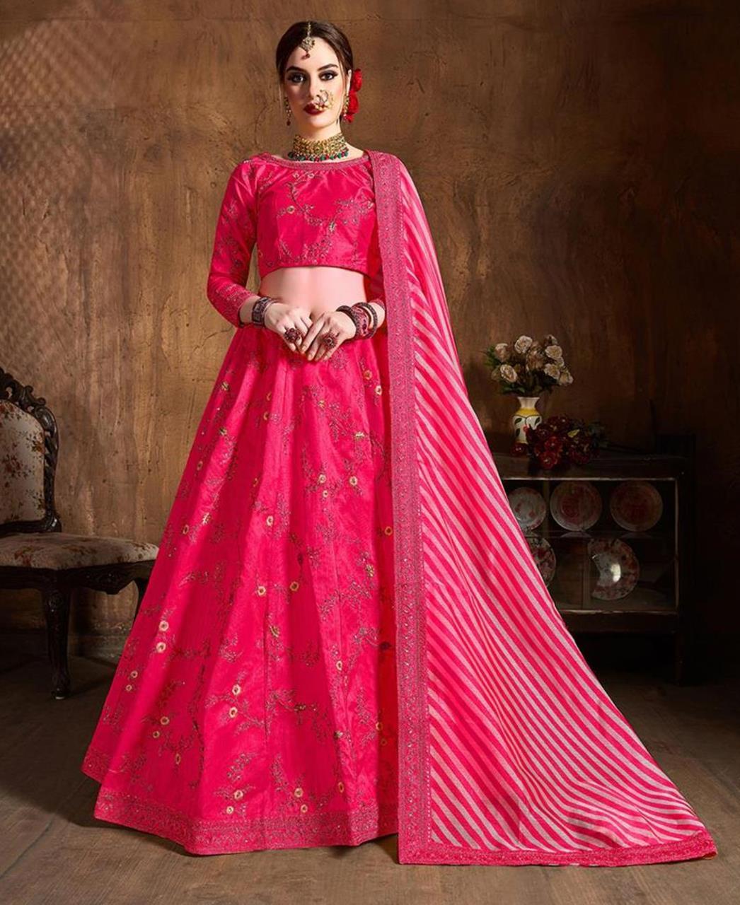 Thread Silk Lehenga in Pink