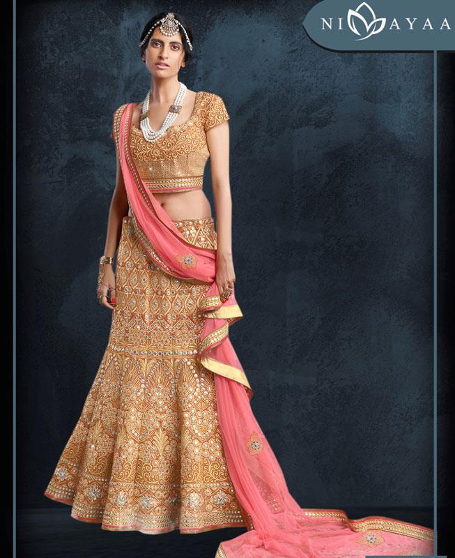 HandWorked Silk Gold Circular Lehenga Choli Ghagra