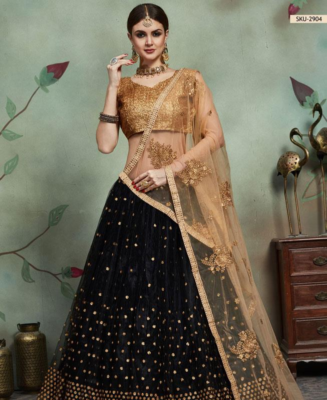Sequins Net Gold Circular Lehenga Choli