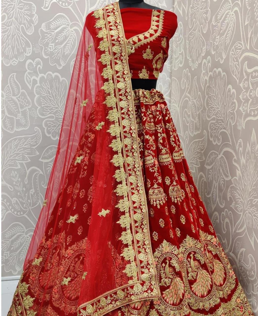 Stone Work Net Lehenga in Red