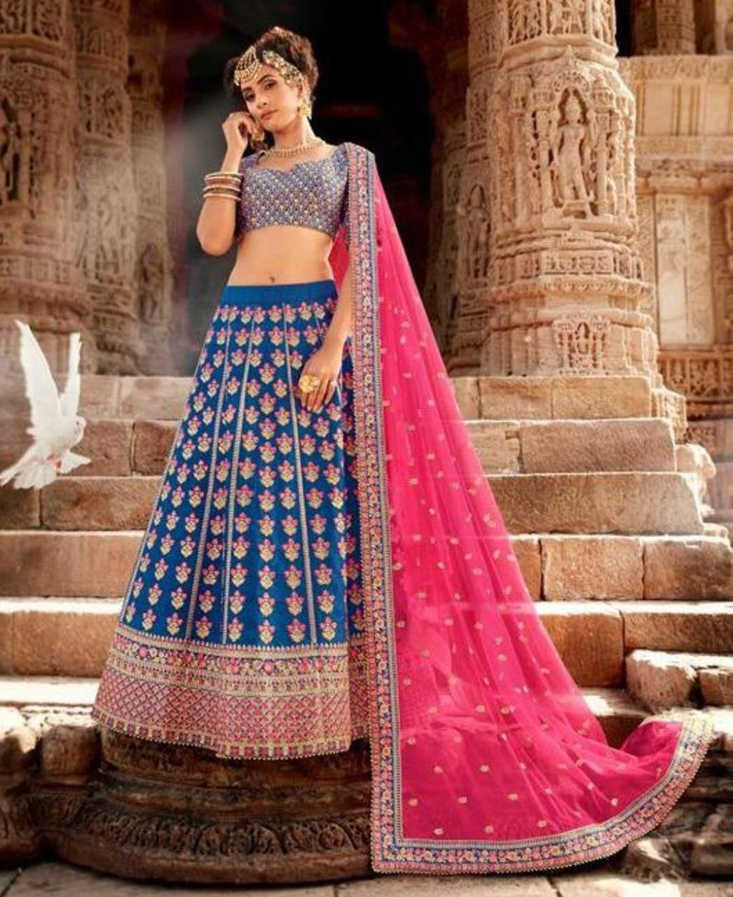 HandWorked Silk Lehenga in Blue
