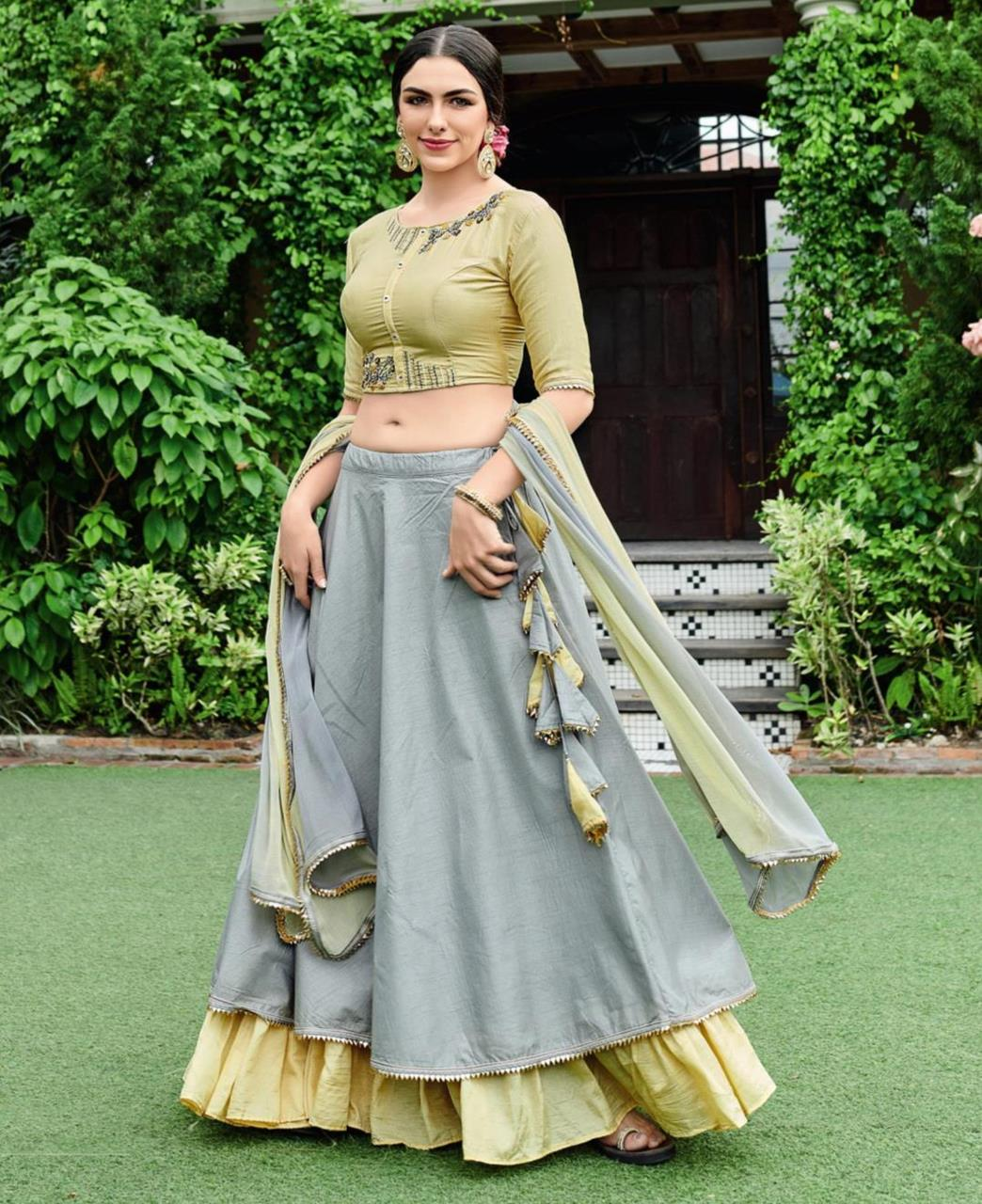 Embroidered Cotton Lehenga in Olive