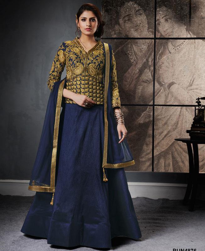 Plain Raw Silk Blue Circular Lehenga Choli Ghagra