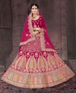 Resham Net Lehenga in Pink