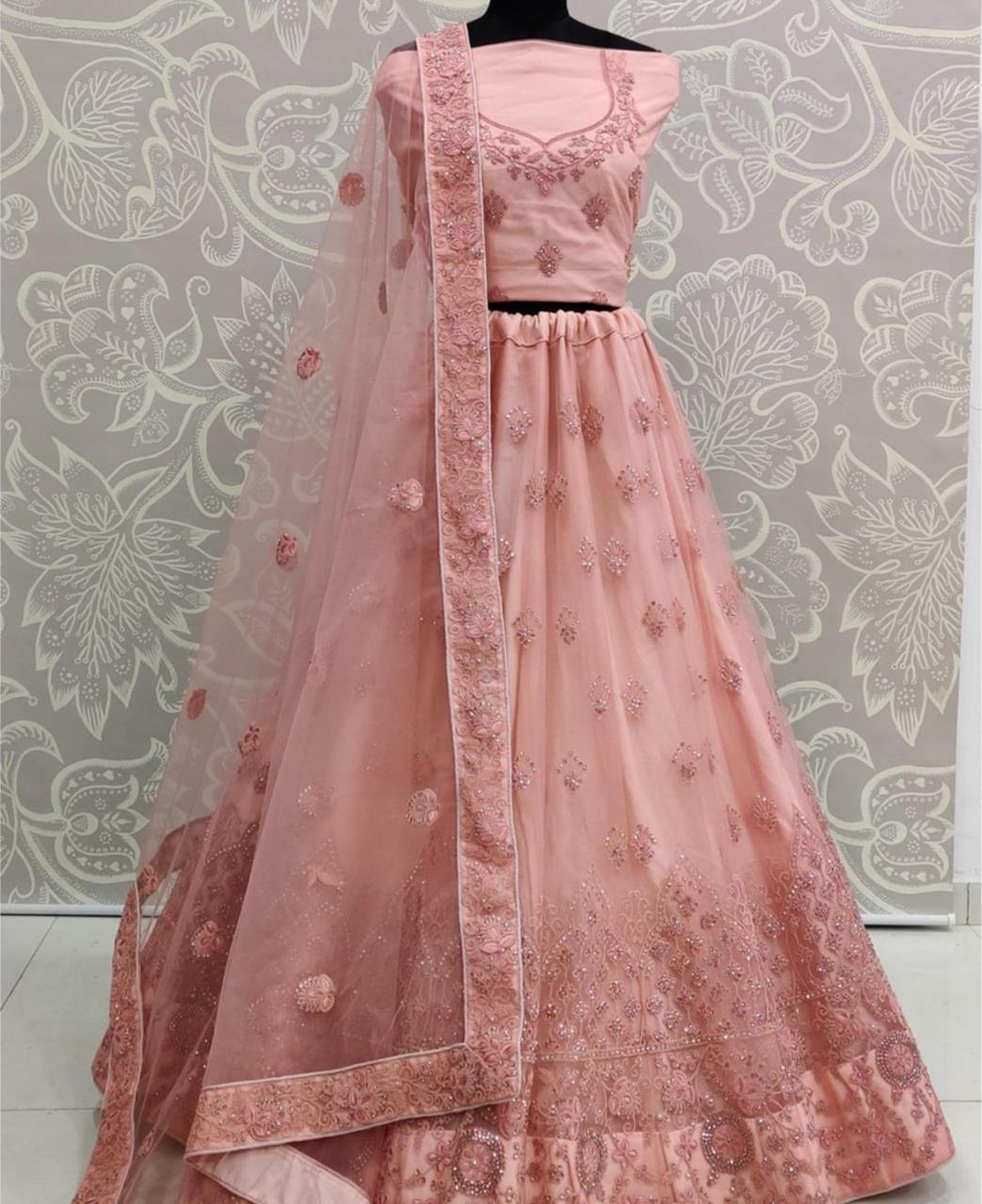 Stone Work Net Lehenga in Pink