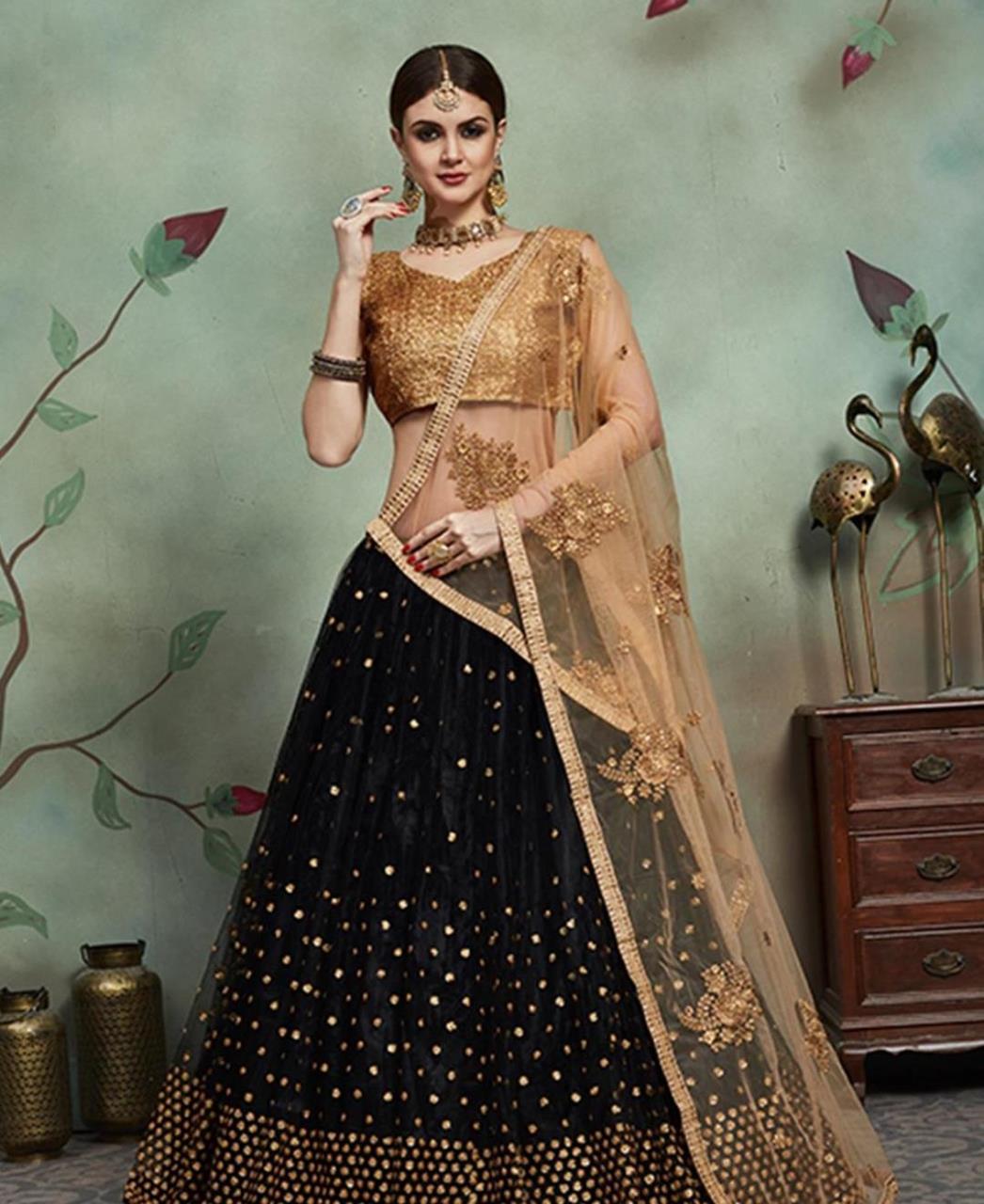 Sequins Net Black Circular Lehenga Choli