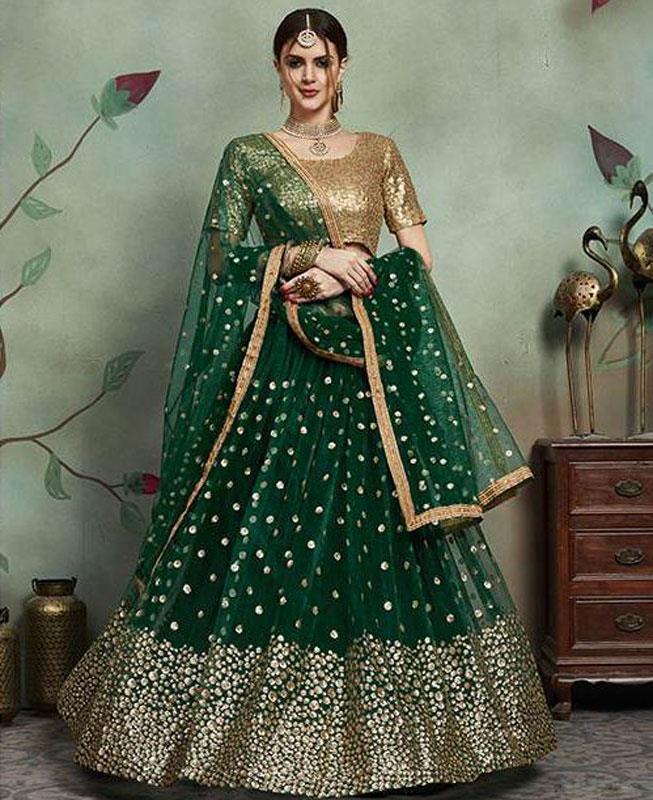 Sequins Net Green Circular Lehenga Choli