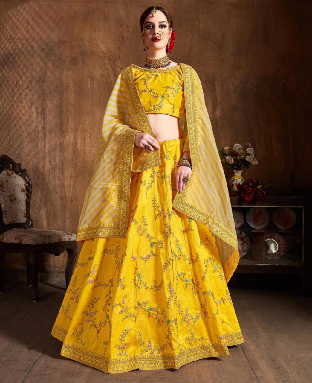 Embroidered Silk Yellow Circular Lehenga Choli