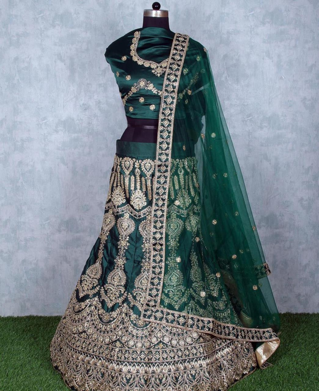 Stone Work Satin Lehenga in Teal Green