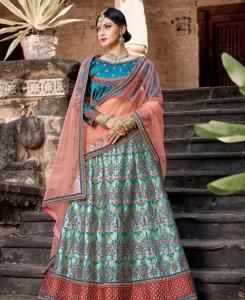 Resham Satin Lehenga in Teal Blue