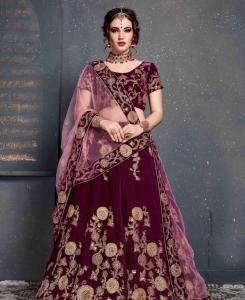 Sequins Net Lehenga in Purple