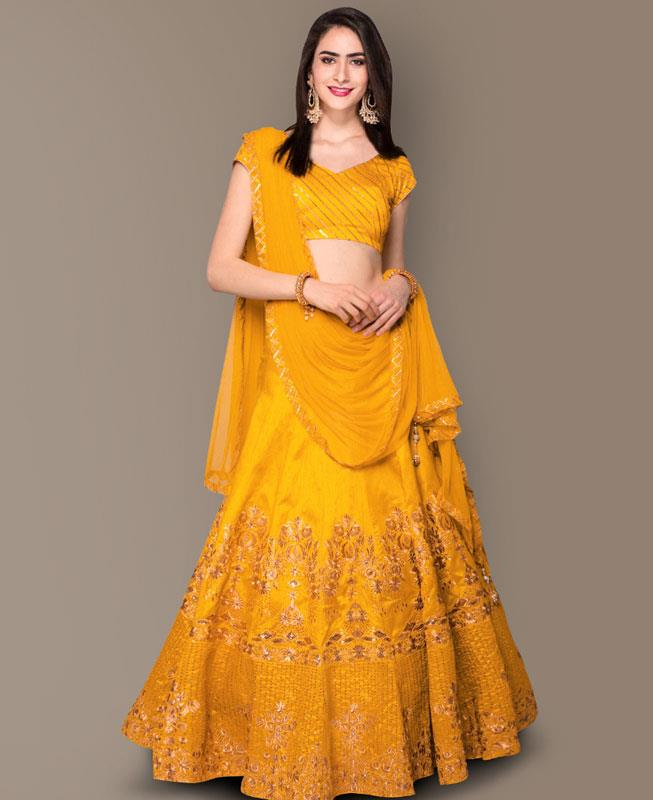 Sequins Bangalore Silk Yellow Circular Lehenga Choli