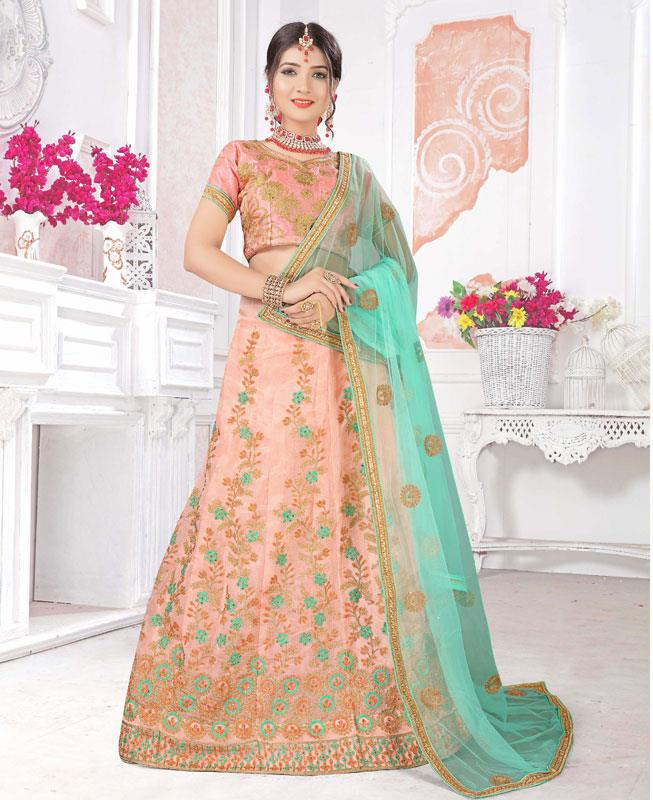 Zari Satin Lehenga in Peach