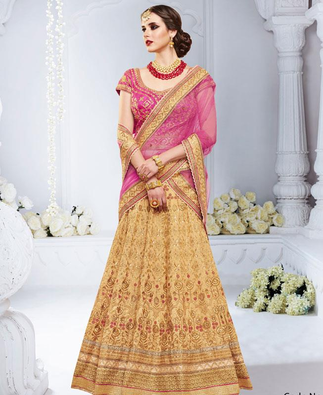 Embroidered Bhagalpuri Silk Orange Long choli Lehenga Choli Ghagra
