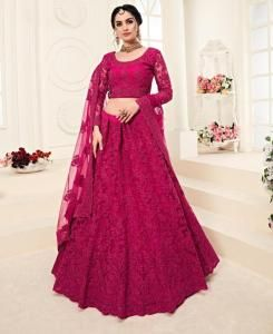 Embroidered Net Magenta Circular Lehenga Choli