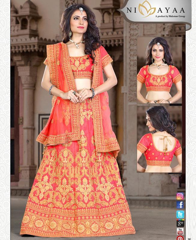HandWorked Velvet Pink A Line Lehenga Choli Ghagra