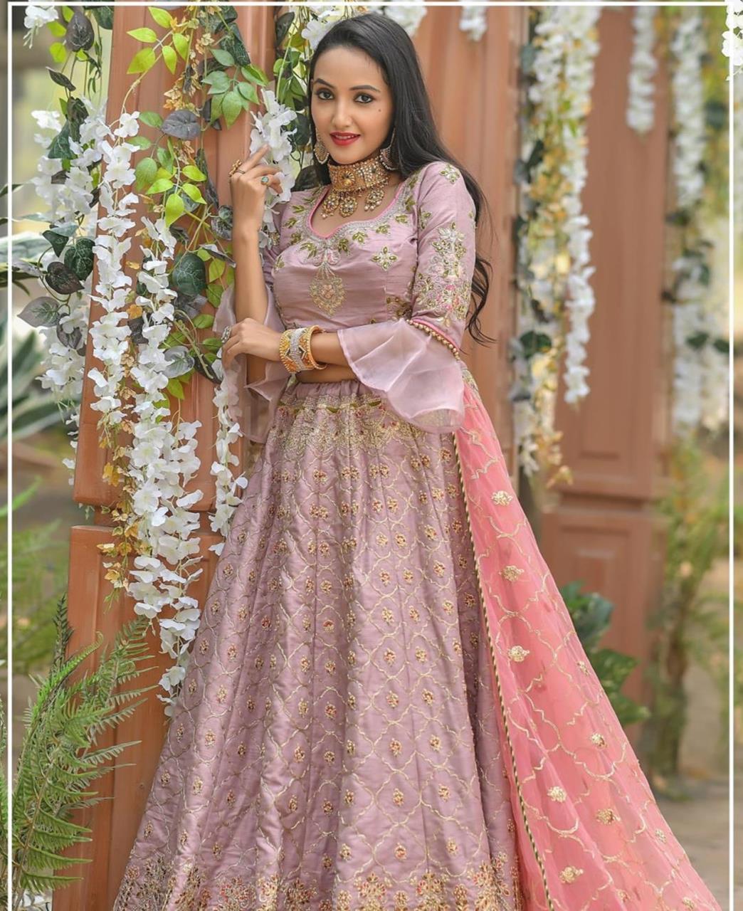 Resham Silk Lehenga in Berry