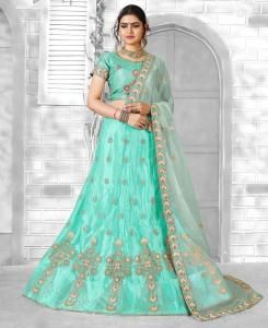 Zari Satin Lehenga in Light Green