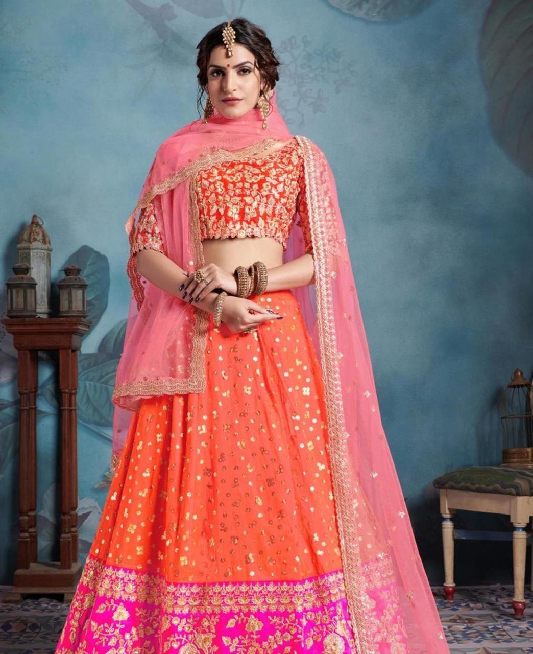 Sequins Silk Lehenga in Orange