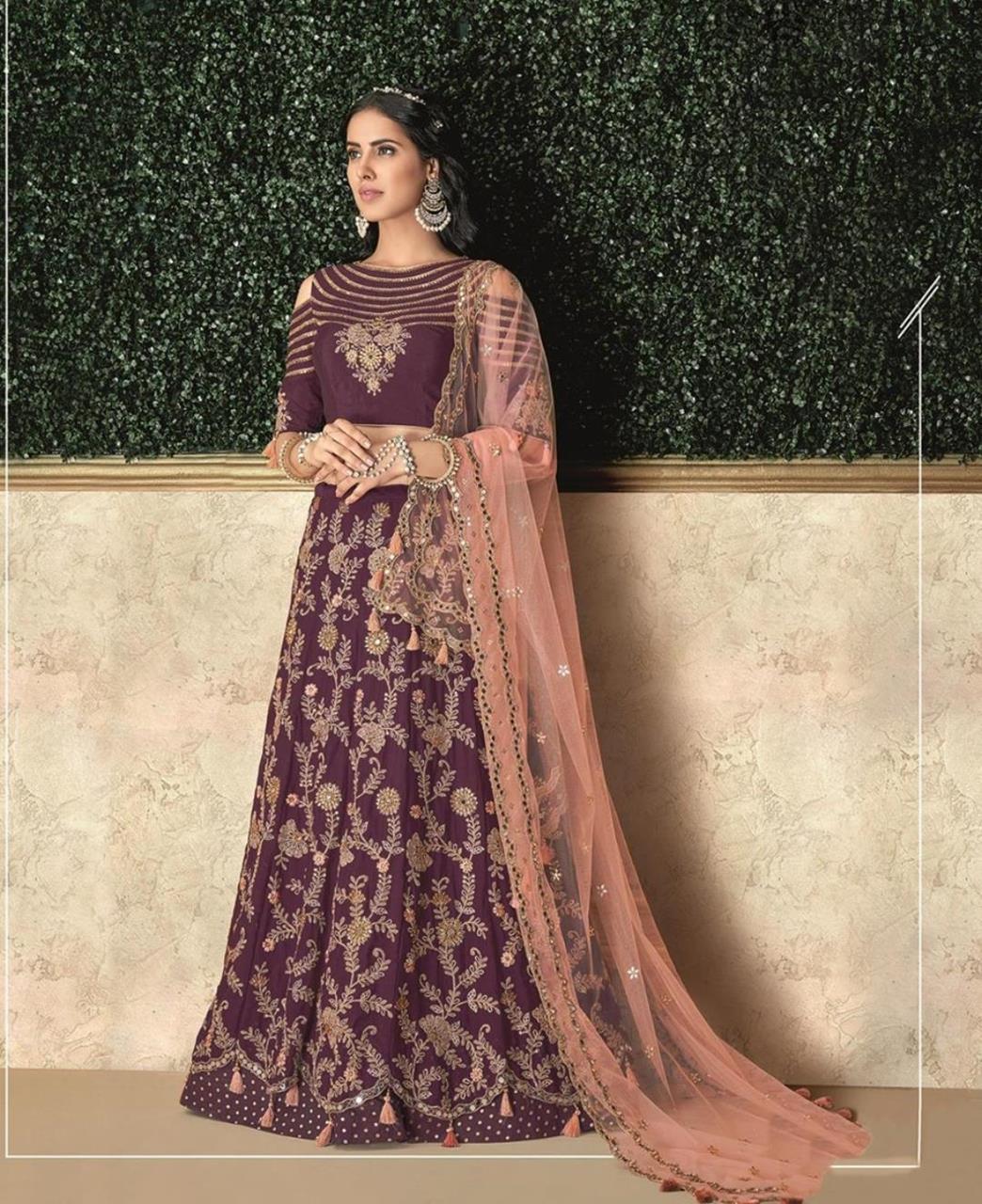 Thread Work Silk Purple Circular Lehenga Choli