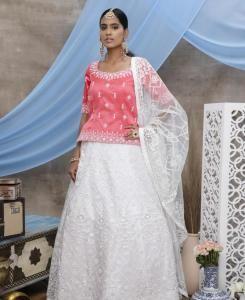 Sequins Silk Lehenga in Hot Pink
