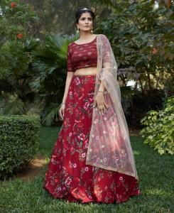 Cotton Lehenga in Maroon
