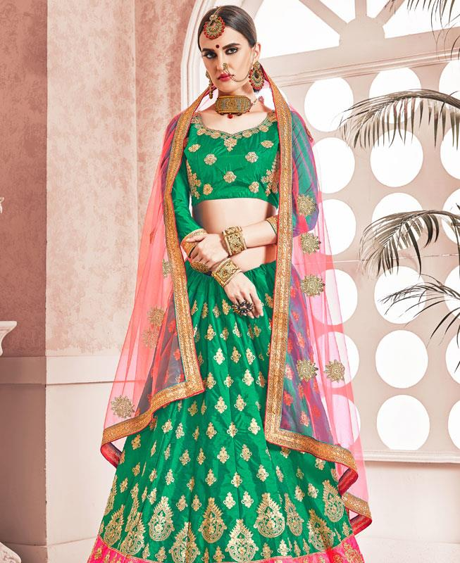 Embroidered Satin Green Circular Lehenga Choli