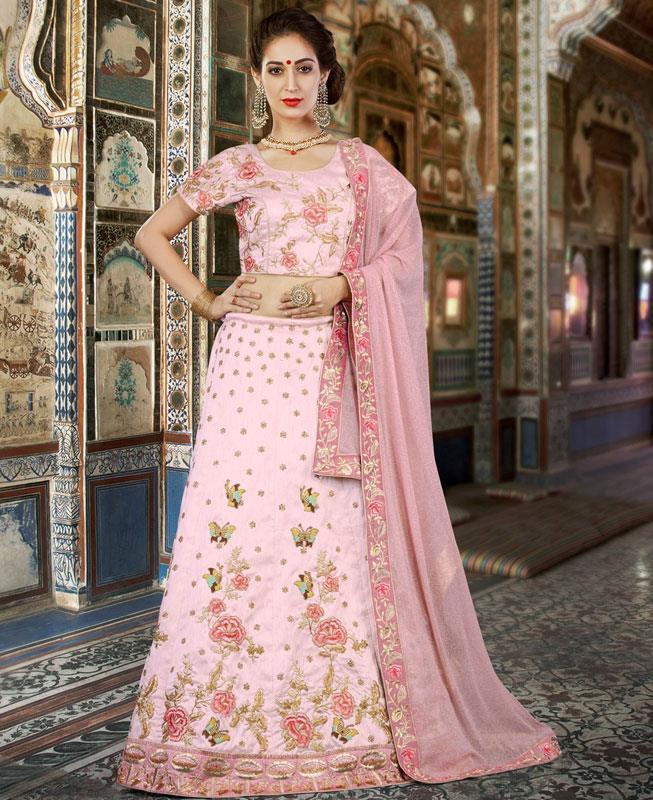Printed Silk Pink A Line Lehenga Choli Ghagra