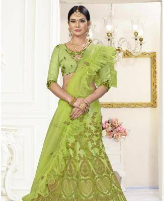Embroidered Net LimeGreen Fish Cut Lehenga Choli