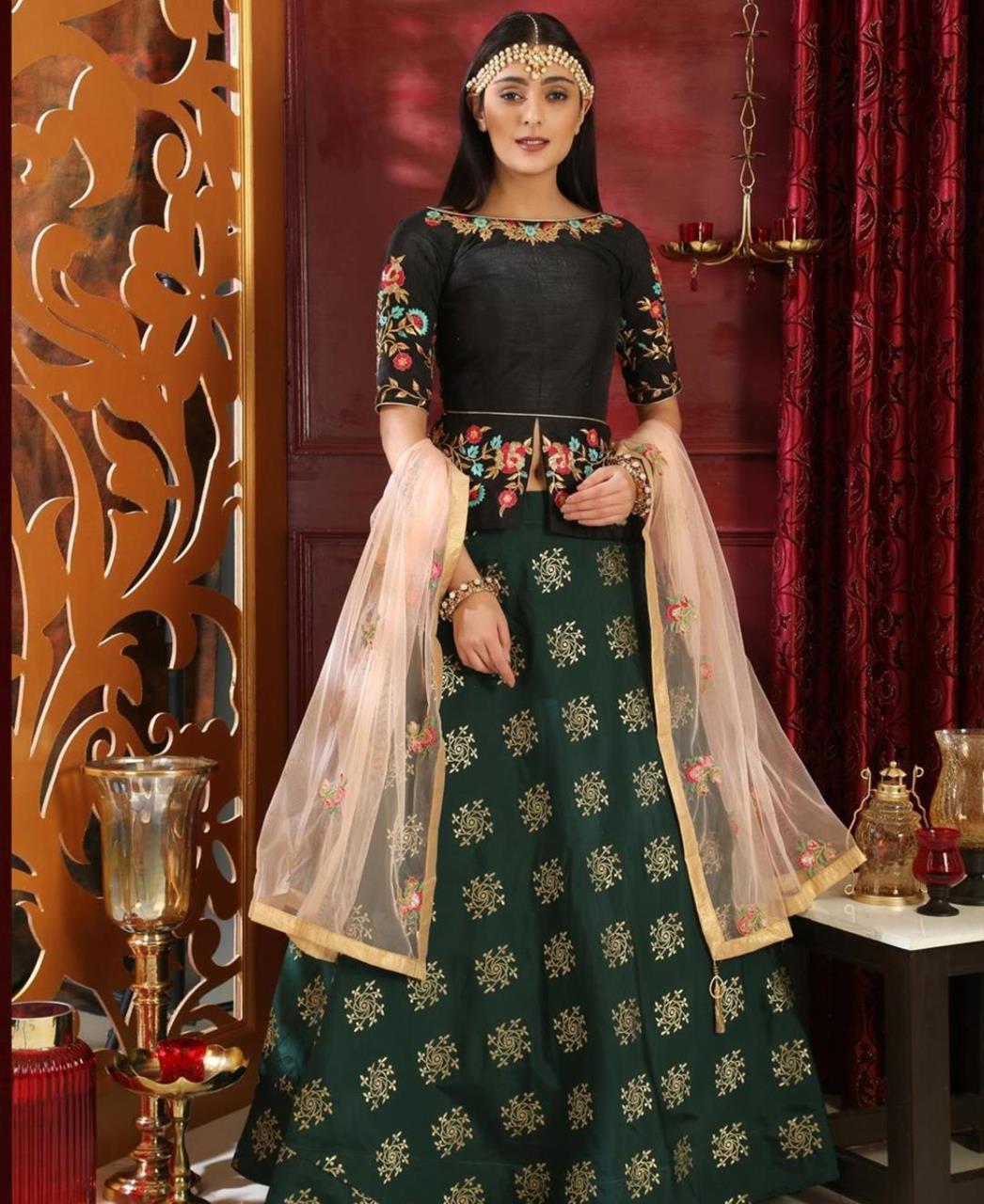 Embroidered Jacquard Green Circular Lehenga Choli Ghagra