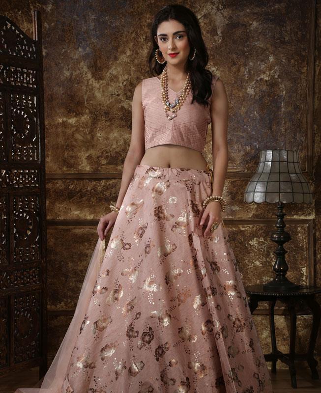 Sequins Silk Pink Circular Lehenga Choli