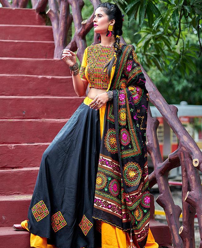 Embroidered Cotton Yellow Long choli Lehenga Choli