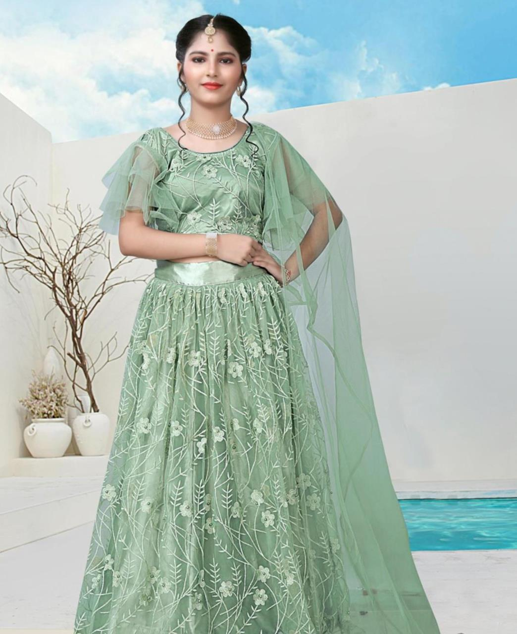 Embroidered Net Lehenga in Pista